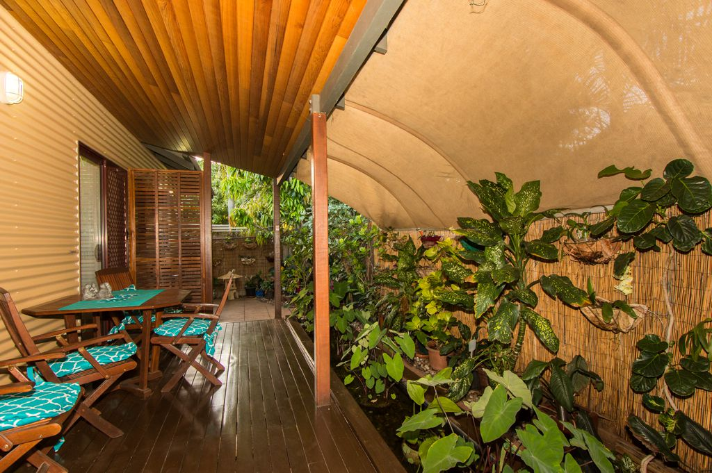 Relax over a meal on the little back verandah soothed by the gentle sound of the water feature